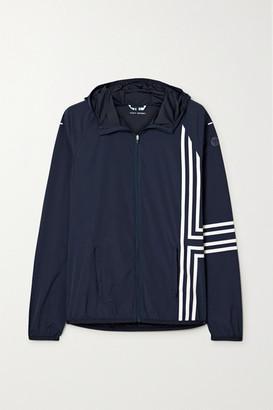 Tory Sport Hooded Striped Stretch-nylon Shell Jacket - Midnight blue