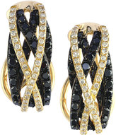 Effy Caviar by Black (3/4 ct. t.w.) and White (1/4 ct. t.w.) Diamond Crossover Earrings in 14k Gold