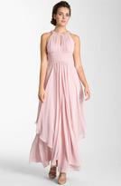 Eliza J Embellished Tiered Chiffon Halter Gown