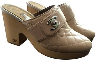 Chanel Beige Leather Mules & Clogs