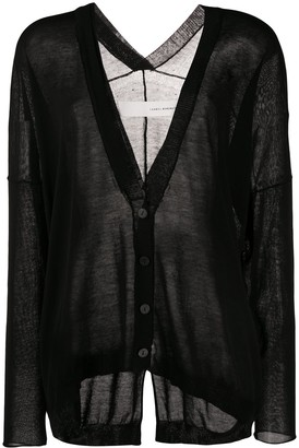 Isabel Benenato Sheer Fine Knit Cardigan