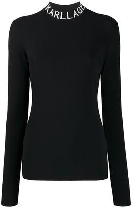 Karl Lagerfeld Paris Logo Collar Slim-Fit Sweatshirt