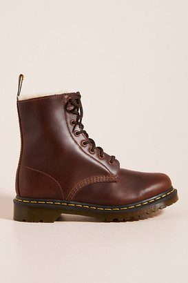Dr. Martens 1460 Faux Fur-Lined Serena Lace-Up Boots By in Brown Size 9