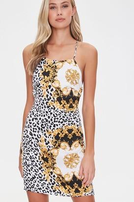 Forever 21 Tie-Back Baroque Leopard Dress
