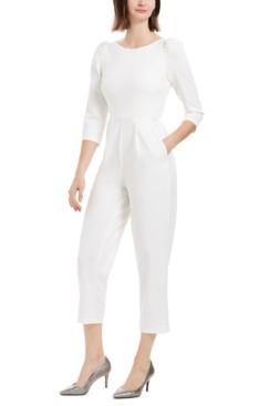 Calvin Klein Puff Shoulder Cropped Jumpsuit