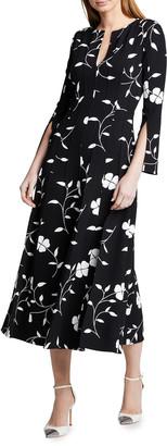 Oscar de la Renta Flower Plisse Slit Sleeve Midi Dress