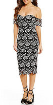 Gianni Bini Tanya Two Tone Off-the-Shoulder Lace Sheath Dress