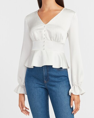 Express Satin Button Front V-Neck Peplum Top