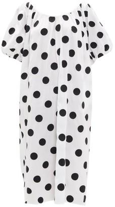 Mara Hoffman Romina Puff-sleeve Polka-dot Cotton Dress - Womens - White Print