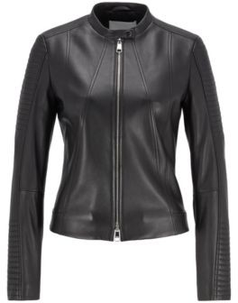 HUGO BOSS Regular-fit nappa-leather jacket with stand collar