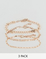Asos Pack of 3 Chain Detail Bracelets