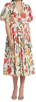 Thumbnail for your product : Badgley Mischka Floral Stretch-Cotton Puff-Sleeve Dress