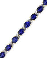 Effy Velvet Bleu by Manufactured Diffused Sapphire (12 ct. t.w.) and Diamond (1/4 ct. t.w.) Tennis Bracelet in 14k Gold