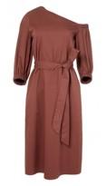 Tibi Satin Poplin Bell Sleeve Midi Dress