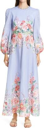 Zimmermann Bellitude Long Sleeve Linen Maxi Dress