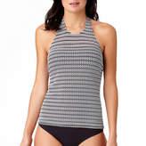 Liz Claiborne Mesh Overlay High Neck Tankini Swimsuit Top