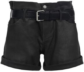 RtA Belted Coated Lizard-effect Leather Shorts