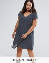 Brave Soul Plus Smock Dress In Polka Dot Print