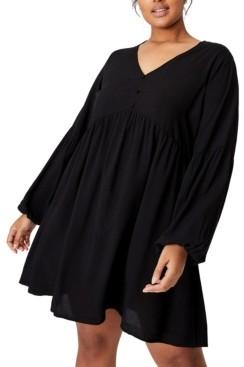 Cotton On Trendy Plus Size Woven Linda Long Sleeve Mini Dress