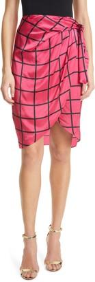 Milly Liza Windowpane Print Wrap Skirt