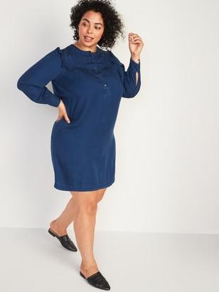 Old Navy Chambray Ruffle-Yoke Plus-Size No-Peek Popover Shirt Dress