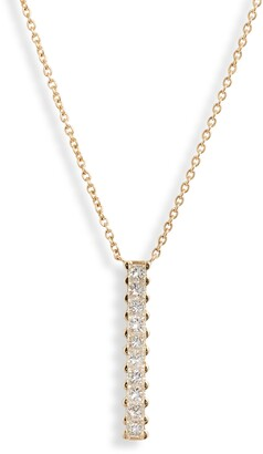 Bony Levy Audrey Princess Diamond Bar Pendant Necklace