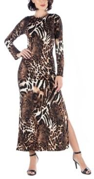 24seven Comfort Apparel Women's Cheetah Print Long Sleeve Fitted Maxi Dress