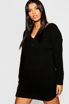 boohoo Plus Bella V Neck Sweater Mini Dress