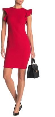 Calvin Klein Solid Ruffle Shoulder Sheath Dress