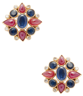 Amrapali 18K Yellow Gold, Ruby, Blue Sapphire & 0.33 Total Ct. Diamond Stud Earrings