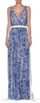 Agnona Floral-Print Chiffon Gown w/Drawstring Waist, Blue