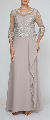 Le Bos Women's Embroidered MESH Cut Out Detail Long Dress