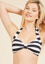 Bathing Beauty Swimsuit Top in Black Stripes in 4