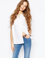 MiH Jeans Button Front Shirt With Pleat Back