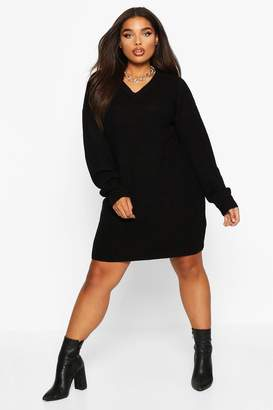 boohoo Plus V-Neck Knitted Jumper Dress