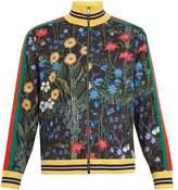 Gucci New Flora-print Web-trimmed Jersey Jacket