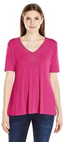 Notations Women's Elbow Sleeve V Neck Top with Heat Seal and Criss Cross At Center Back