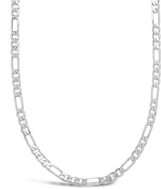 Sterling Forever Rhodium Plated Figaro Chain Necklace