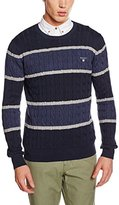 Gant Men's O2. Cotton Cable Block Stripe Crew Cardigan,XXL