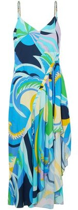 Emilio Pucci Asymmetric Ruched Printed Voile Dress