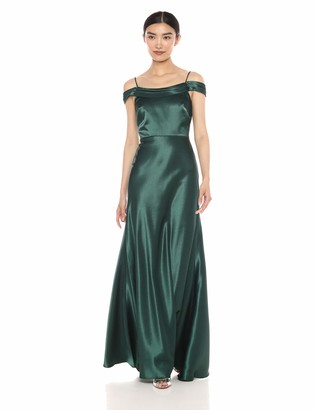 Jenny Yoo Women's Serena Draped Off The Shoulder Satin Crepe Gown
