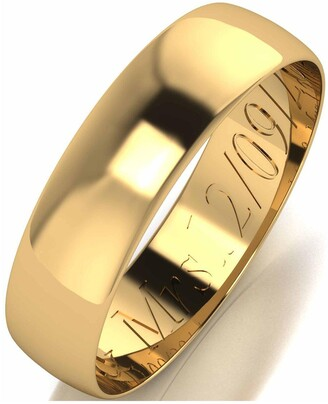 Love Gold Personalised 9 Carat Yellow Gold D-Shaped Wedding Band 5mm