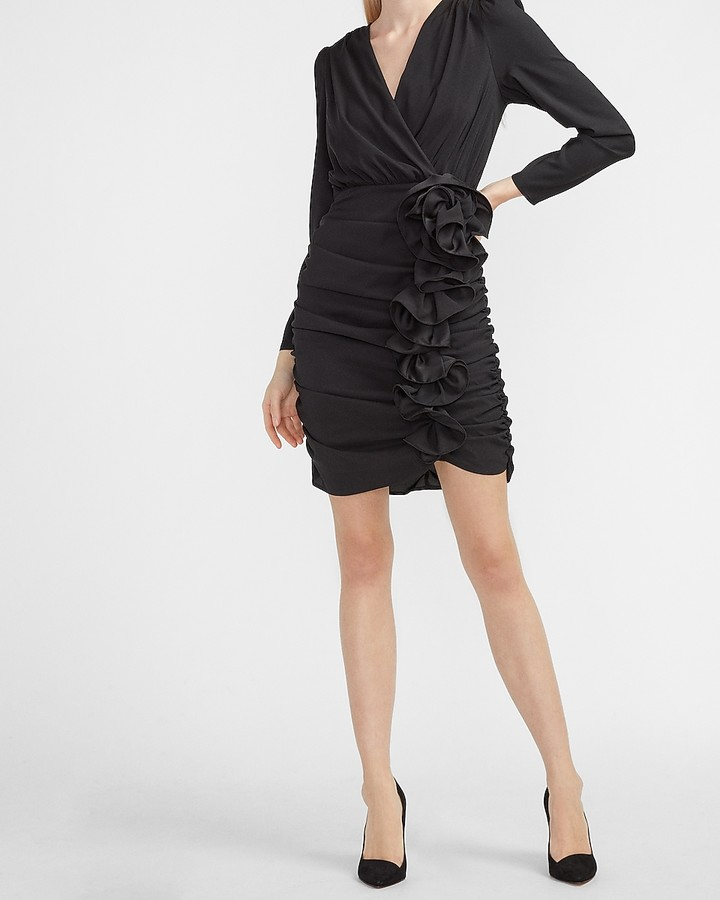 Express Ruched Ruffle Skirt Wrap Dress