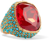 Kenneth Jay Lane Gold-plated, Crystal And Cabochon Ring - Red
