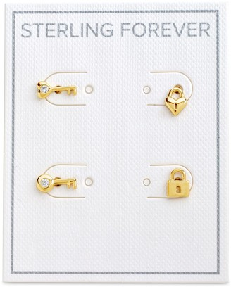 Sterling Forever 14K Yellow Gold Plated CZ Lock & Key Stud Earrings Set