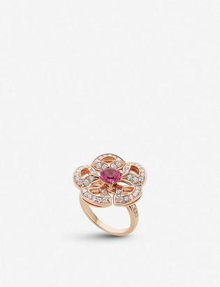 Bvlgari Divas Dream 18ct rose-gold pink tourmaline and pave diamond ring