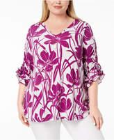 Alfani Plus Size Plus Size Ruched-Sleeve Tunic, Created for Macy's