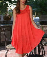 Ananda's Collection Women's Casual Dresses CORAL - Coral Embroidered Shift Dress - Women