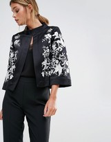 Ted Baker Abhy Wide Collar Jacket with Embroidery