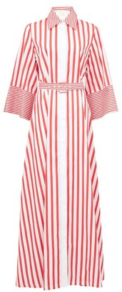 Sara Battaglia Belted Striped-cotton Shirt Dress - Red White